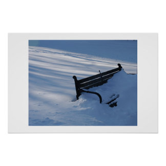 Bench buried under a blanket of snow poster