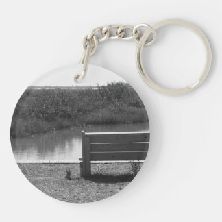 Bench by river black and white picture Double-Sided round acrylic keychain