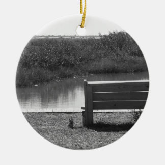 Bench by river black and white picture Double-Sided ceramic round christmas ornament