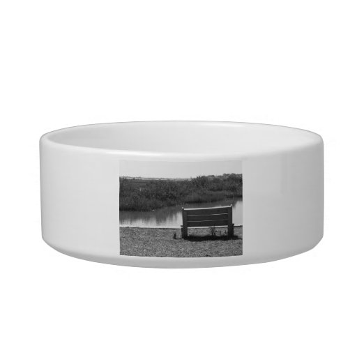 Bench by river black and white picture pet bowl
