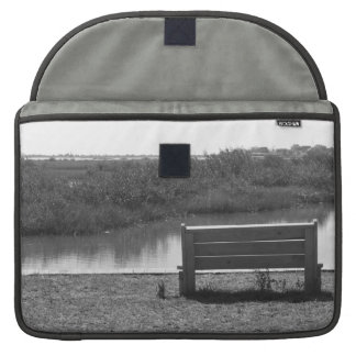 Bench by river black and white picture sleeve for MacBook pro