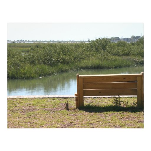 Bench by river with grass and water custom flyer
