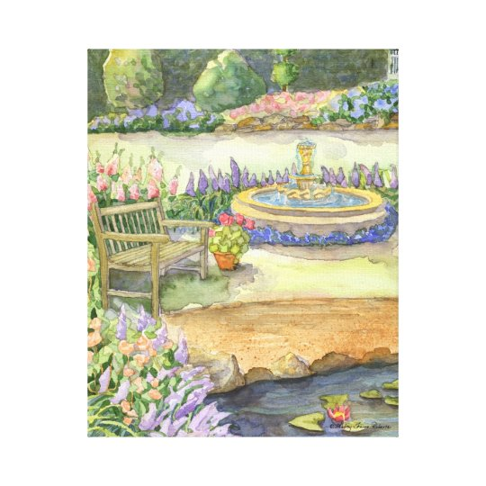 Bench by the Lily Pond and Fountain Garden Floral Canvas Print