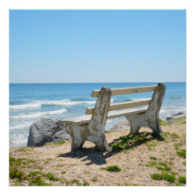 Bench Chair On The Beach Perfect Poster