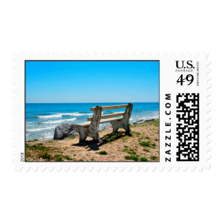 Bench Chair Overlooking the ocean seascape stamp