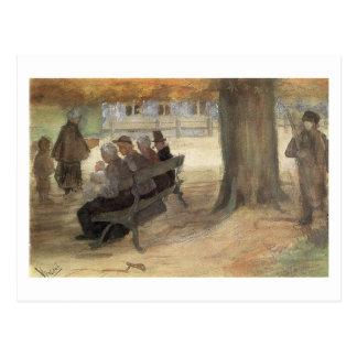Bench, Four Persons & Baby, Van Gogh Fine Art Postcard
