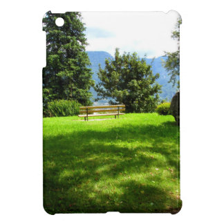 Bench in a meadow with stone cover for the iPad mini