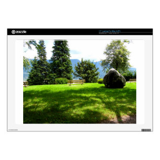 """Bench in a meadow with stone 17"""" laptop skins"""