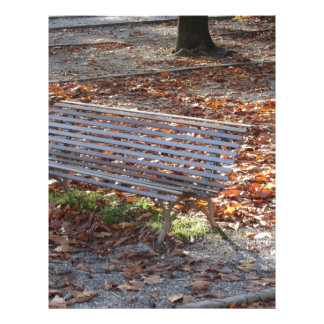 Bench in autumn park with dead leaves letterhead