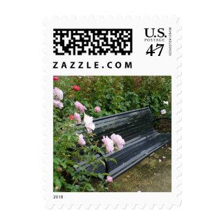 Bench in the Roses Postage Stamp