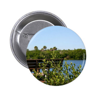Bench on dock with nature preserve blue sky pinback buttons