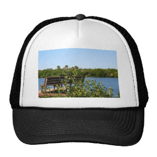 Bench on dock with nature preserve blue sky trucker hat