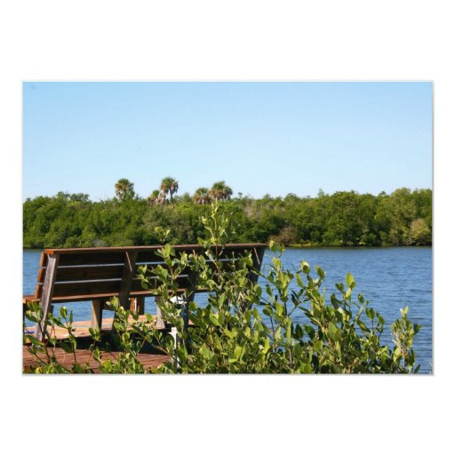 Bench on dock with nature preserve blue sky custom invitations