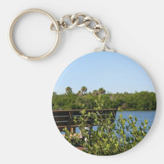 Bench on dock with nature preserve blue sky key chain