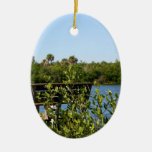 Bench on dock with nature preserve blue sky christmas ornament