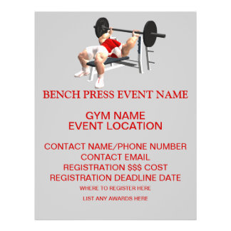 Bench Press Event Competition Fund Raiser Flyer