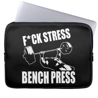 BENCH PRESS, F*CK STRESS - Workout Motivational Laptop Sleeve