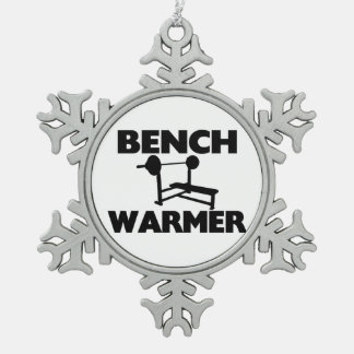 Bench Warmer Snowflake Pewter Christmas Ornament