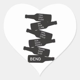 Bend Oregon Beer Bottle Stacked Outdoor Activities Heart Sticker