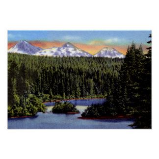 Bend Oregon Scotts Lake and Three Sisters Poster