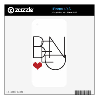 Bend Oregon Word Heart Logo Decal For iPhone 4