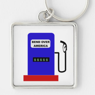 BEND OVER AMERICA - Gas Pump lube job Silver-Colored Square Keychain