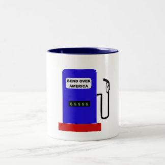 BEND OVER AMERICA - Gas Pump lube job Two-Tone Coffee Mug