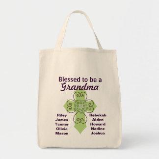 Bendecido para ser una abuela bolsa tela para la compra