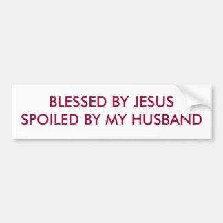 BENDECIDO POR JESÚS ESTROPEÓ POR MI MARIDO ETIQUETA DE PARACHOQUE