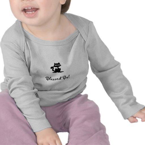 Bendecido sea gato negro del bebé camiseta