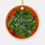 Bendecido sea ornamento del navidad adorno redondo de cerámica