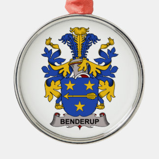 Benderup Family Crest Round Metal Christmas Ornament