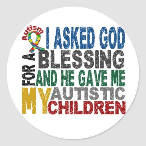 Bendición de 5 camisetas y ropas del autismo de pegatina redonda
