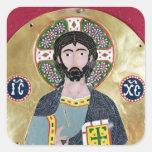 Bendición de Cristo, 10mo-11mo siglo Pegatinas Cuadradas Personalizadas