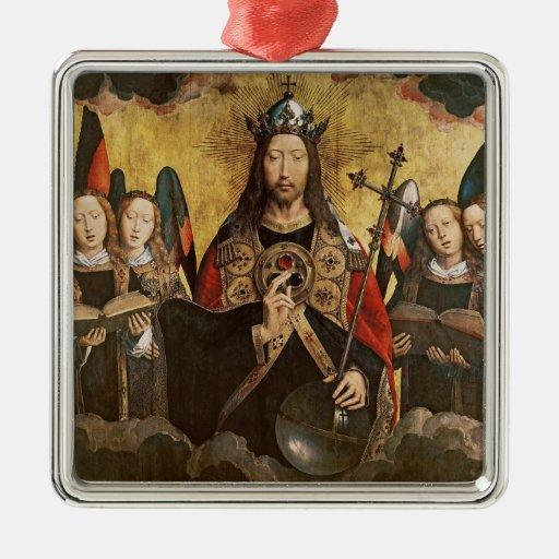 Bendición de Cristo, el panel central de un Ornamento Para Reyes Magos