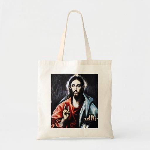 Bendición de El Greco Cristo Bolsas Lienzo