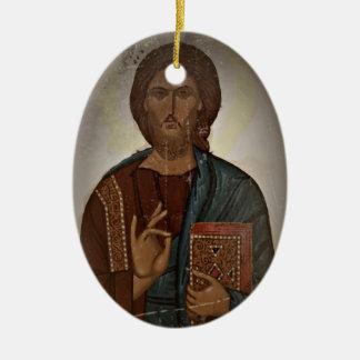 Bendición de Jesús Adorno Navideño Ovalado De Cerámica