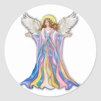 Bendición del ángel de guarda etiqueta redonda