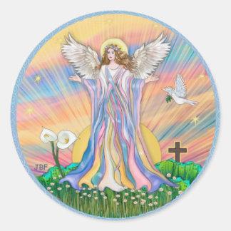 Bendición del ángel pegatina redonda