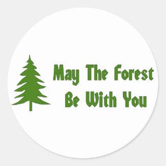 Bendición del bosque pegatina redonda