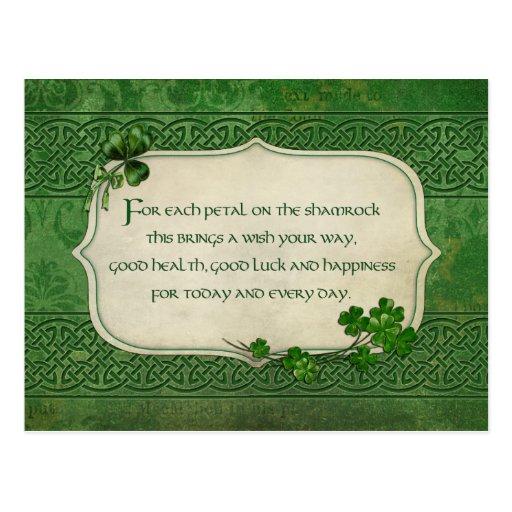 Bendición irlandesa del trébol del día de St Patri Tarjetas Postales