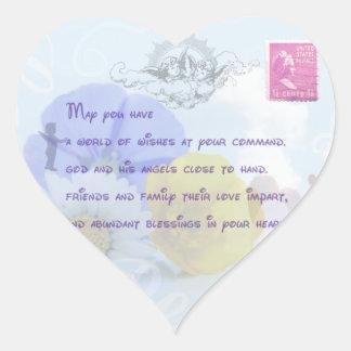 Bendición irlandesa floral azul en colores pastel pegatina en forma de corazón