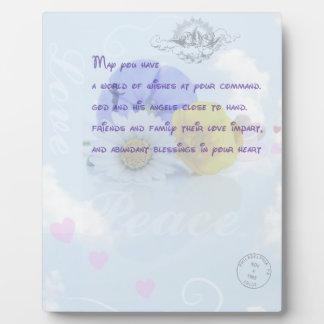 Bendición irlandesa floral azul en colores pastel  placas