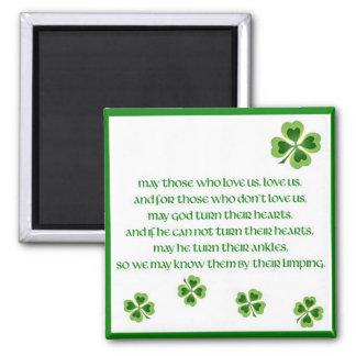 Bendición irlandesa imán cuadrado