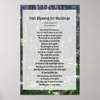 Bendición irlandesa para los bodas - personalizar póster