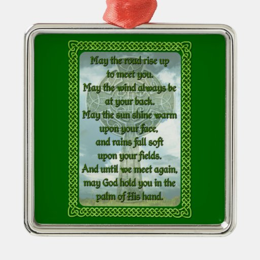 Bendición irlandesa verde adorno cuadrado plateado