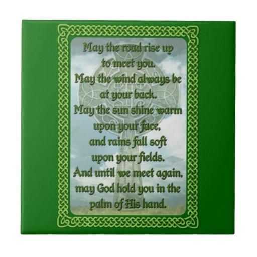 Bendición irlandesa verde azulejo cuadrado pequeño