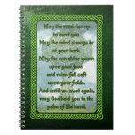 Bendición irlandesa verde libro de apuntes con espiral