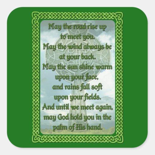 Bendición irlandesa verde pegatina cuadrada
