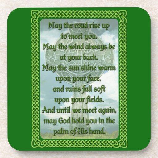 Bendición irlandesa verde posavasos